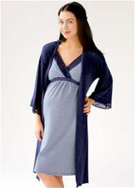 Queen Bee Maternity Nursing Nightie & Robe Set in Navy Stripe by Belabumbum