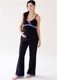 Queen Bee Black Polkadot Maternity Nursing Cami & Pant Set by Belabumbum