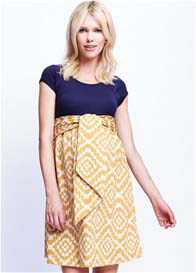 Queen Bee Scoop Front Tie Maternity Dress in Mustard Tapestry by Maternal America
