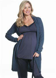 Queen Bee Gateau Maternity Knit Robe in Navy by Cake Lingerie