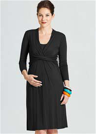 Queen Bee Theory Twist Front Nursing Maternity Dress in Black by Milky Way