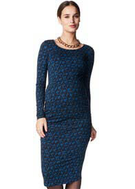 Queen Bee Joan Maternity Midi Dress in Blue Print by Noppies