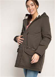 Queen Bee Cosy Hooded Maternity Parka in Olive Green by Esprit