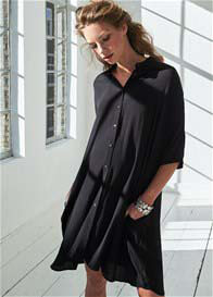 Queen Bee Fluid Maternity Shirt Dress in Black by Queen mum