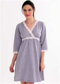 Queen Bee Kimono Maternity Nursing Dress in Grey Polkadot by Belabumbum