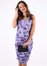 Queen Bee Fleurette Maternity Nursing Tank Dress in Purple Bloom by Floressa