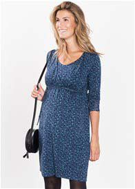Queen Bee Shadow Blue Print Maternity Nursing Dress by Esprit