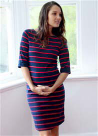 Queen Bee Honore Maternity Shift Dress in Navy/Red Stripes by Trimester