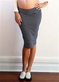 Queen Bee Charlotte Maternity Skirt in Navy Zigzag by Trimester Clothing