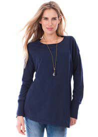 Queen Bee Rosetta Draped Maternity Nursing Jumper in Navy by Seraphine
