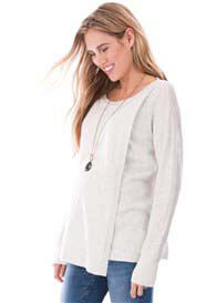 Queen Bee Rosetta Draped Maternity Nursing Jumper in Ivory by Seraphine
