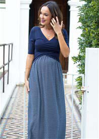 Queen Bee Melody Cross Over Maternity Nursing Maxi Dress by Trimester