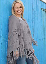 Queen Bee Pandora Maternity Knit Poncho in Charcoal by Bijou