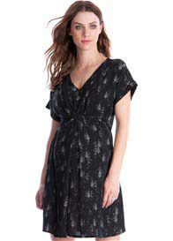 Queen Bee Vanya Maternity Nursing Dress in Black Print by Seraphine