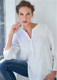 Queen Bee White Maternity Linen Blouse by Queen mum