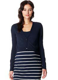 Queen Bee Lori Cropped Maternity Knit Cardigan in Dark Blue by Noppies
