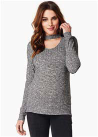 Queen Bee Giovanna Choker Knit Maternity Top in Anthracite by Noppies