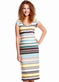 Queen Bee Gathered Maternity Midi Dress in Multi Stripes by Queen mum