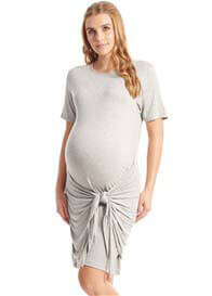 Queen Bee Maya Tie Waist Maternity Nursing Dress in Grey by Everly Grey