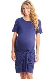 Queen Bee Maya Tie Waist Maternity Nursing Dress in Navy by Everly Grey
