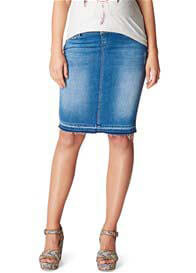 Queen Bee Joy Distressed Maternity Denim Skirt in Light Wash by Noppies