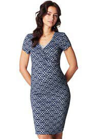 Queen Bee Elisa Maternity Nursing Dress in Blue Print by Noppies