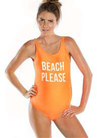 Queen Bee Beach Please Maternity One Piece Swimsuit in Orange by Mamagama