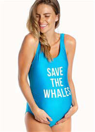 Queen Bee Save The Whales Maternity One Piece Swimsuit in Blue by Mamagama
