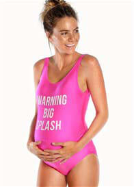 Queen Bee Warning Big Splash Maternity Swimsuit in Fuchsia by Mamagama