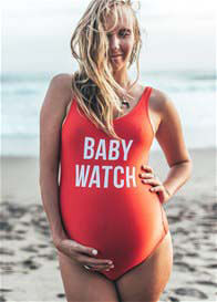 Queen Bee Baby Watch Maternity One Piece Swimsuit in Red by Mamagama