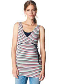 Queen Bee Festive Maternity Nursing Top in Red Stripes by Esprit