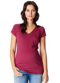 Queen Bee Anemone Mesh Trim Maternity Tee in Fuchsia by Noppies