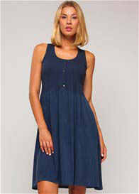 Queen Bee Maternity Nursing Tank Dress in Blue by Paula Janz