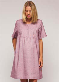 Queen Bee Linen Maternity Nursing Bib Dress in Rose by Paula Janz