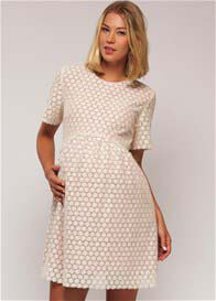 Queen Bee Alice Lace Maternity Dress in Cream by Paula Janz