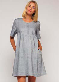Queen Bee Linen Maternity Nursing Bib Dress in Blue by Paula Janz