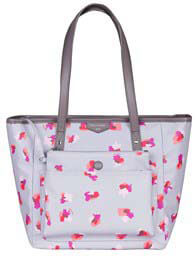 Queen Bee Everyday Tote Plus Nappy Bag in Grey Floral by TWELVE little