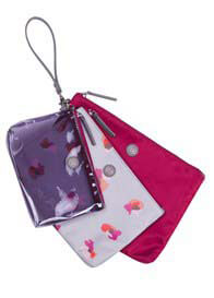 Queen Bee Trio Pouch in Grey Floral Print by TWELVE little