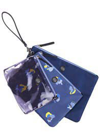 Queen Bee Trio Pouch in Navy Floral by TWELVE little