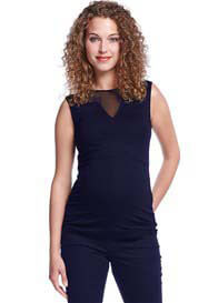 Queen Bee Sheer Panel Maternity & Nursing Top in Dark Blue by Queen mum