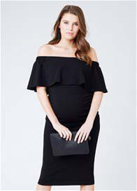 Queen Bee Soiree Off Shoulder Maternity Dress in Black by Ripe Maternity