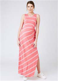 Queen Bee Side Tie Maxi Maternity Dress in Coral Stripe by Ripe Maternity