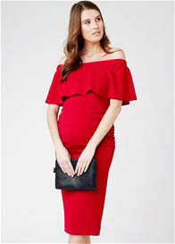 Queen Bee Soiree Off Shoulder Maternity Dress in Red by Ripe Maternity