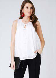 Queen Bee Double Layered Lace Nursing Top in White by Ripe Maternity