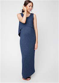 Queen Bee Swing Back Layered Maternity Nursing Maxi Dress in Blue by Ripe