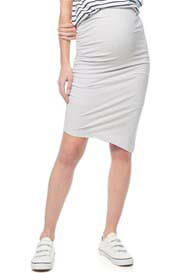 Queen Bee Stay Up Late Maternity Skirt in Light Grey by Bae