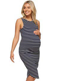 Queen Bee More Than Words Maternity Dress in Navy/White Stripes by Bae