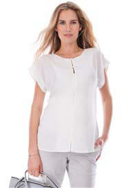 Queen Bee Nancy Invisible Zip Ivory Maternity Nursing Blouse by Seraphine