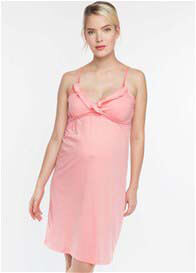 Queen Bee Coral Ruffle Maternity Nursing Chemise by Belabumbum