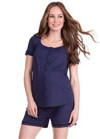 Queen Bee Cody Button Maternity Nursing PJ Set in Navy by Seraphine